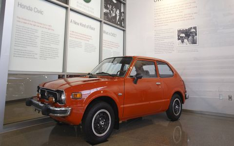 The 1974 Civic with CVCC engine technology helped Honda gain acceptance in the U.S. car market.