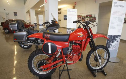 The Honda CR250R motocross model was the first motorcycle manufactured at Honda's Marysville Motorcycle Plant on Sept. 10, 1979.