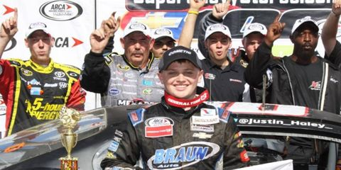Justin Haley celebrates his first career ARCA Racing Series win on Sunday in Springfield, Illinois.