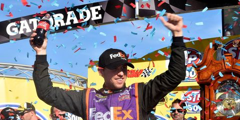 Denny Hamlin won Sunday's NASCAR Sprint Cup race at Martinsville.