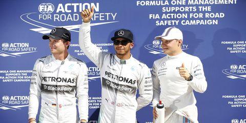 Nico Rosberg, left; pole sitter Lewis Hamilton, center; and Valtteri Bottas qualified 1-2-3 at Monza on Saturday.