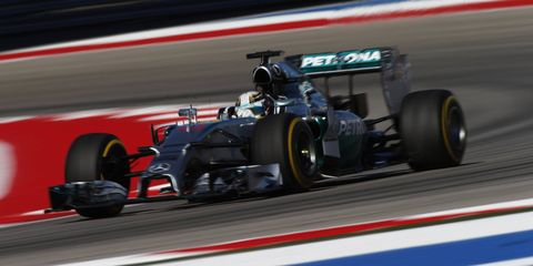 Lewis Hamilton edged teammate Nico Rosberg by 0.003 second in Friday practice at Circuit of the Americas in Austin, Texas, on Friday.