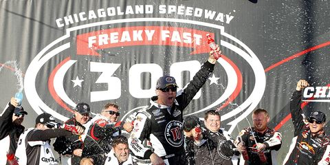 Chevy driver Kevin Harvick won Saturday night's NASCAR Nationwide race at Chicagoland.