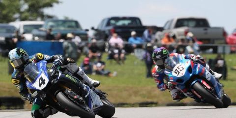 Josh Hayes, shown above (No. 4), won the first race of the weekend at Virginia International Raceway.