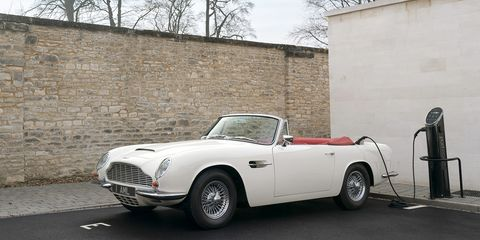 Aston Martin built the first EV conversion for this 1970 DB6 MkII Volante.