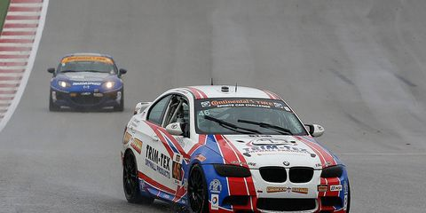 John Edwards and Trent Hindman in the No. 46 Trim-Tex BMW M3 won in Austin, Texas, on Friday.