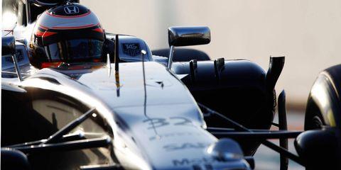 McLaren-Honda test pilot Stoffel Vandorrn puts the Honda powered-car through a test at Abu Dhabi this past November.