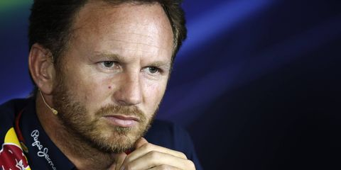 Red Bull Racing team principal Christian Horner addresses the media in Italy on Friday.