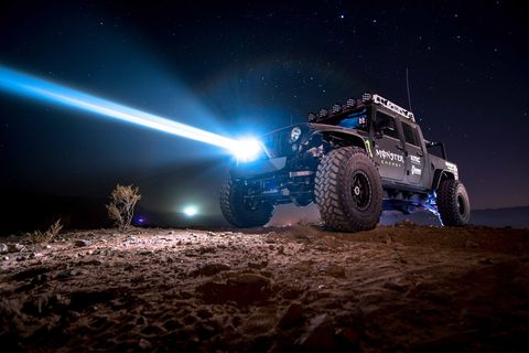 A Baja Designs SLDLaser headlight blasting into the night. I didn't ride in this rig, but did get a laser demo ride in a Baja prerunner. Look at that beam!