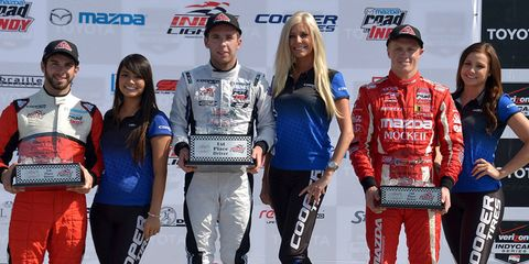 Ed Jones, joined on the podium by Spencer Pigot and Felix Serralles, won Sunday's Indy Lights race at Long Beach.