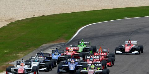 Spencer Pigot (12) pulls away early and goes on to an easy 6.7-second win over Jack Harvey on Saturday.