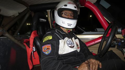 Bob Harnsberger prepares to take the Nissan VQ30-powered Renault Le Car down the quarter-mile at Bandimere Speedway.