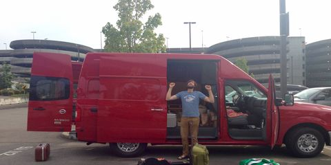 Happy to return from a wonderful side trip to Alaska and find the red Nissan NV waiting.