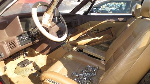 The seat leather wasn't helped by storage of dozens of lug nuts.