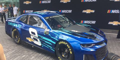 The 2018 NASCAR Camaro ZL1 made its debut in downtown Detroit on Thursday.