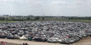 As many as 30,000 vehicles are stored at Royal Purple Raceway in Baytown, Texas, awaiting insurance adjusters to do their thing.