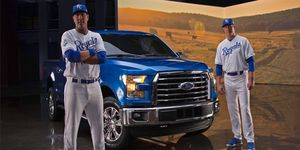 Ford used Royal greats Bret Saberhagen and Salvador Perez to promote the car.