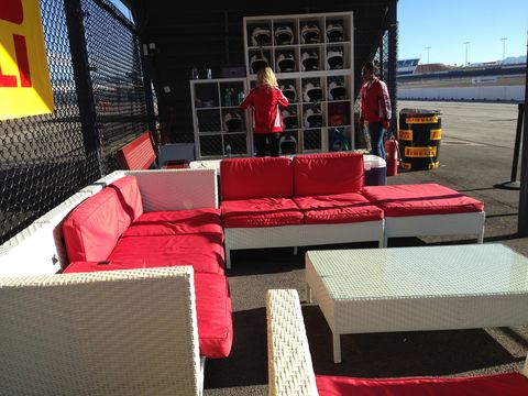 The waiting area where we donned our helmets for the track test, perfect Vegas weather.
