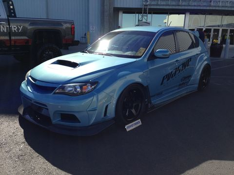 Subaru WRX with a full ground effects kit