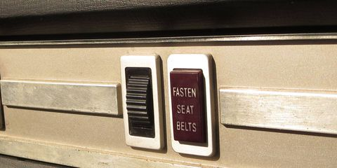 Peugeot used a nice aluminum-framed design for the U.S.-market 504's dash switches and indicator lights.