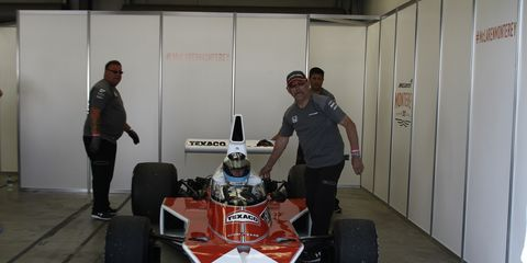 The McLaren M23 and two-time F1 World Champion Mika Hakkinen get ready to hit the track