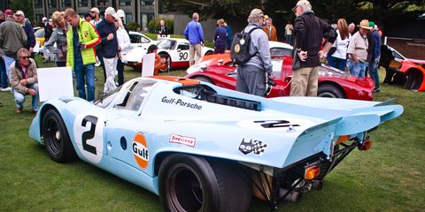 """John Wyer Automotive and Gulf became the official Porsche team, and their 917 Kurzheck, or """"short-tail,"""" fixed many of the 917's aerodynamic problems from 1969."""