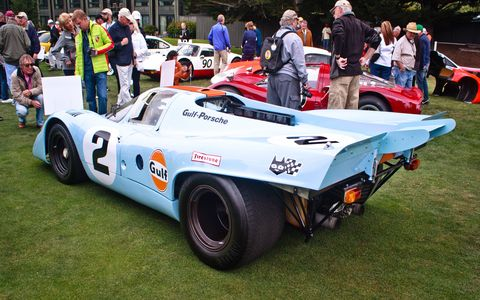 "John Wyer Automotive and Gulf became the official Porsche team, and their 917 Kurzheck, or ""short-tail,"" fixed many of the 917's aerodynamic problems from 1969."