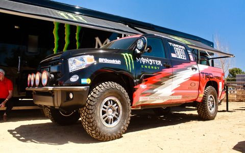 The Baja 1000 truck is based on a 2015 Tundra TRD Pro Crewmax 4x4, with a 5.7-liter V8.