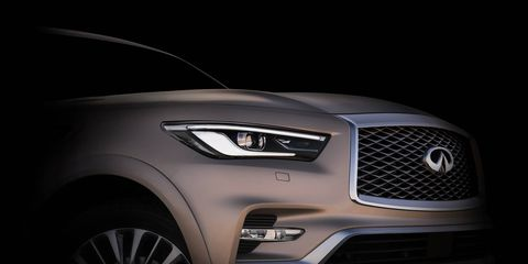 The new Infiniti QX80 will show its face at the Dubai motor show.