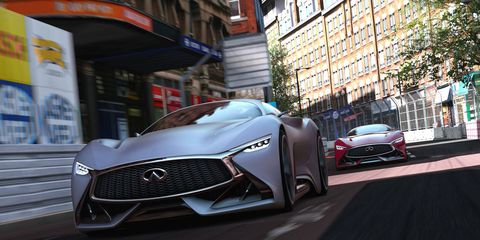 The Infiniti Concept joins the Mercedes Vision GT, Toyota FT-1 Concept, Nissan Concept 2020 and others in Polyphony Digital's epic simulator.