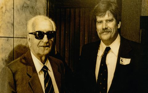 Crain seemingly knows everybody in the car business. Here he is with none other than Enzo Ferrari