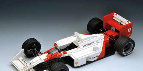 This Lego tribute to the McLaren MP4/4 F1 car is nearly 22 inches long and uses almost 1,600 pieces. There's an engine underneath all that low-profile bodywork.