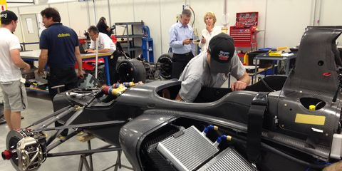 Driver Conor Daly checks out the new Indy Lights prototype car for next year's season