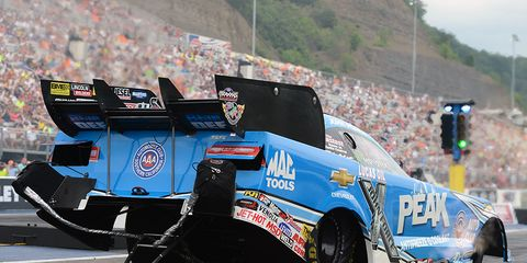 John Force was the top qualifier in Funny Car at Bristol Dragway.