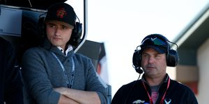 George Steinbrenner IV and Mike Harding watch qualifications from the Harding Racing pit stand at Sonoma Raceway.