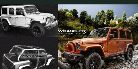 JL Wrangler Forums released what they are claiming are leaked renderings of the 2018 Wrangler (left), then used them to create the realistic vision of the upcoming off-roader (right).