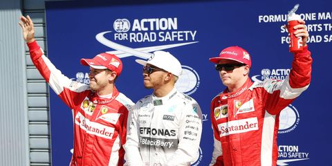 Ferrari drivers Kimi Raikkonen and Sebastian Vettel will join Mercedes' Lewis Hamilton at the top of the grid in Monza.
