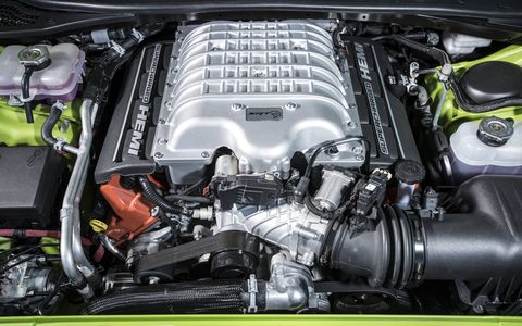 The 2015 Dodge Challenger SRT Hellcat is equipped with a 6.2-liter supercharged V8 cranking out 707 hp with 650 lb-ft of torque.