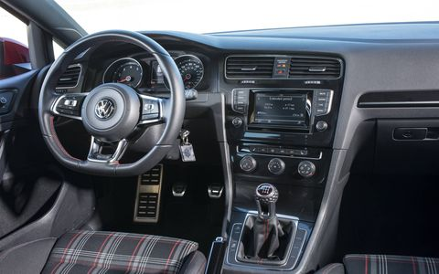 The 2015 Volkswagen Golf GTI S 4-Door offers a simple yet roomy interior made of honest and seemingly durable materials.