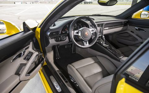 The 2014 Porsche Carrera 911 Turbo S is equipped with a 3.8-liter twin-turbocharged H6.