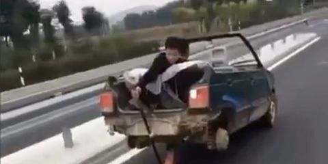 Don't try this at home, or on the road, or anywhere. Just don't try this.