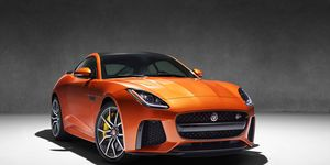 The 2017 Jaguar F-Type SVR Coupe. There will be a convertible version, too, if that's more your speed. We spy a big wing on the back ...