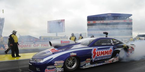 Jason Line holds down the No. 1 qualifying spot for the U.S. Nationals in the Pro Stock class. Eliminations are Monday.