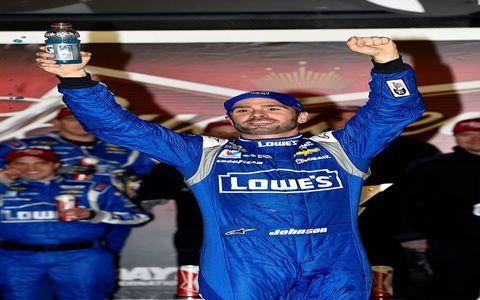 Jimmie Johnson celebrates his win at Daytona on Thursday.