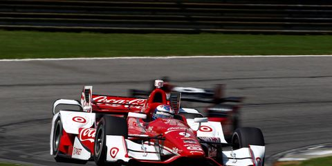 Josef Newgarden won his first career IndyCar Series race on Sunday, holding off a hard-charging Graham Rahal at Barber Motorsports Park.