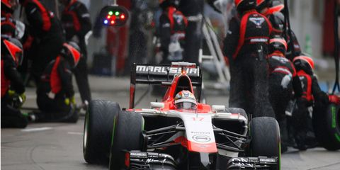 Marussia driver Jules Bianchi leaves the pits during the Formula One Japanese Grand Prix race weekend in October.