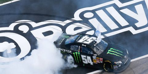Kyle Busch won the NASCAR Nationwide Series race at Texas Motor Speedway on Saturday after winning the Camping World Truck Series on Sunday.
