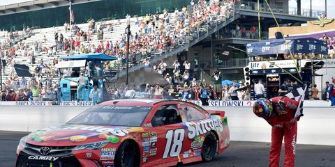 Kyle Busch completed a one-of-a-kind sweep on Sunday with a win in the Brickyard 400.