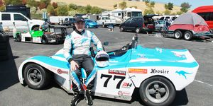 James Chartres of San Jose, California, races a Spec Racer Ford in SCCA competition.