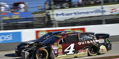 NASCAR Sprint Cup driver Kevin Harvick at Martinsville following a collision with Matt Kenseth.